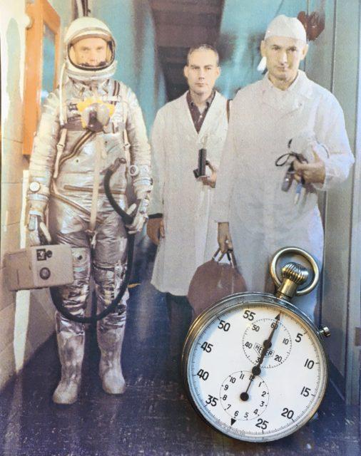 Erste schweizer Uhr im Weltraum 1962. Getragen von John Glenn. Heuer Model 2915A Stopwatch